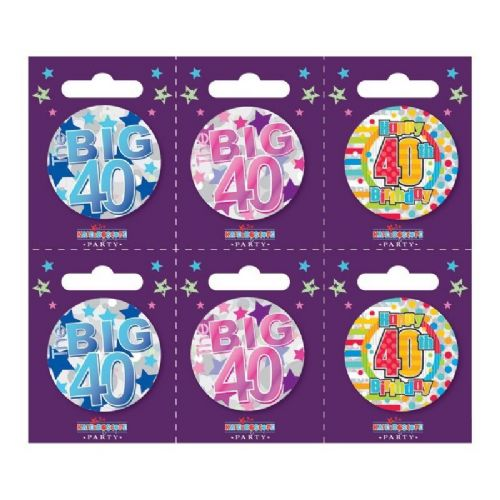 Age 40 Small Badges (6 assorted per perforated card) (5.5cm)